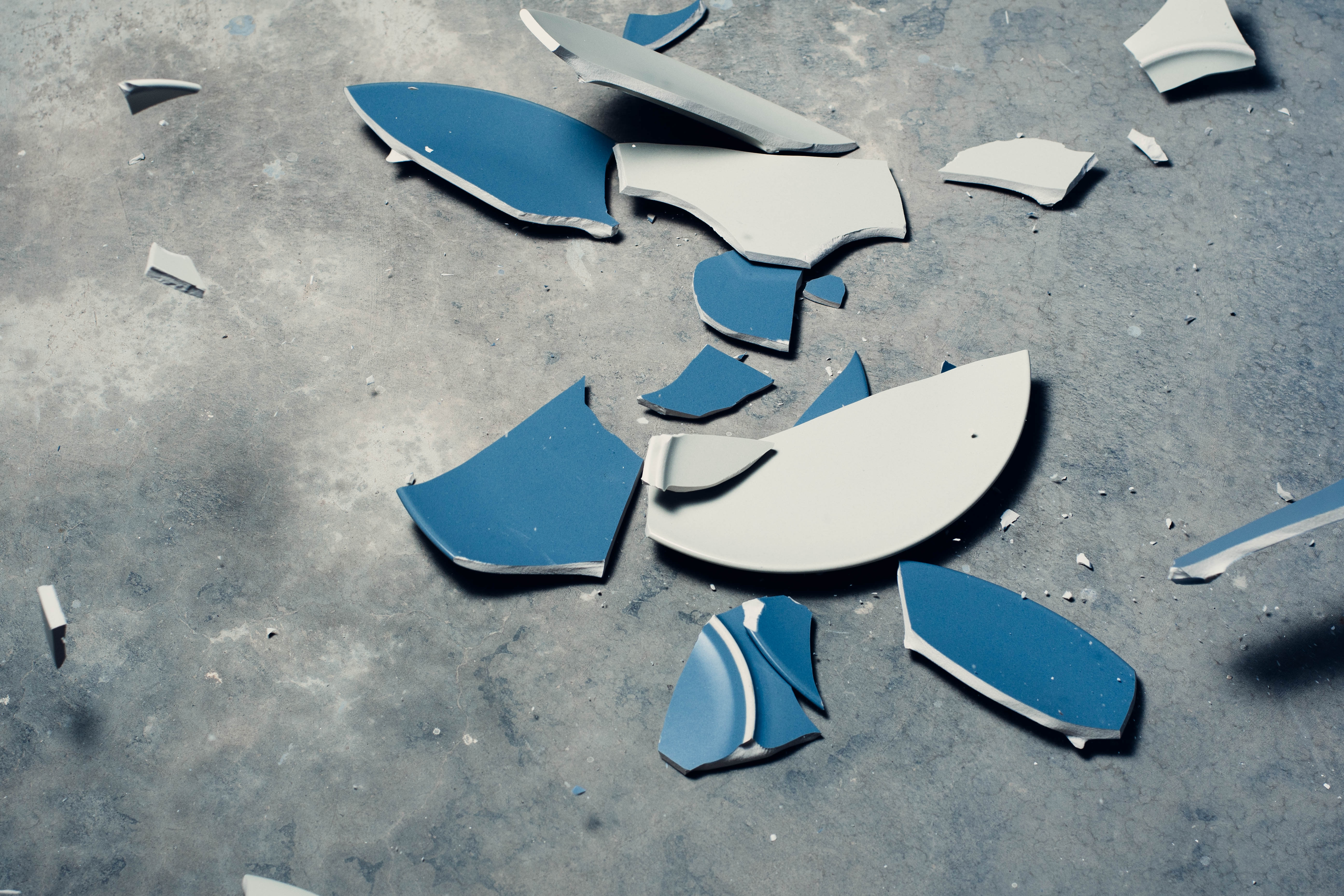 Shattered two plates and froze them